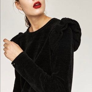 Zara Chenille Sweater with Ruffle Shoulders